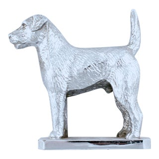 Vintage English Chrome Terrier Car Mascot For Sale