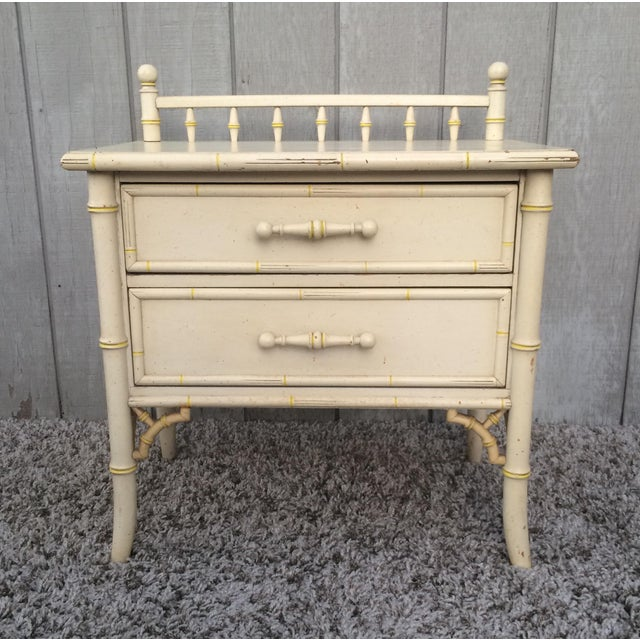 Faux Bamboo Chinoisere Two Drawer Nightstand Side Table - Image 2 of 6
