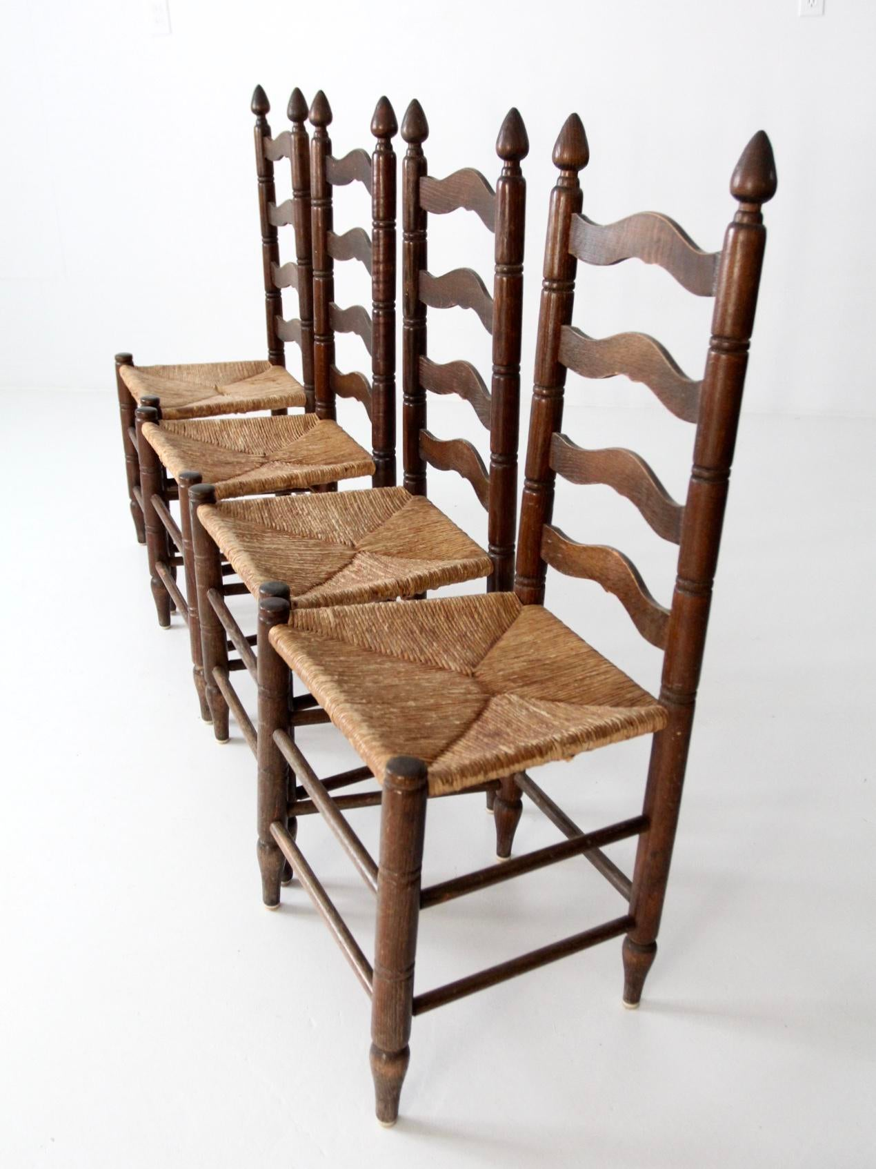 Antique Ladder Back Chairs With Rush Seats   Set Of 4   Image 4 Of 10