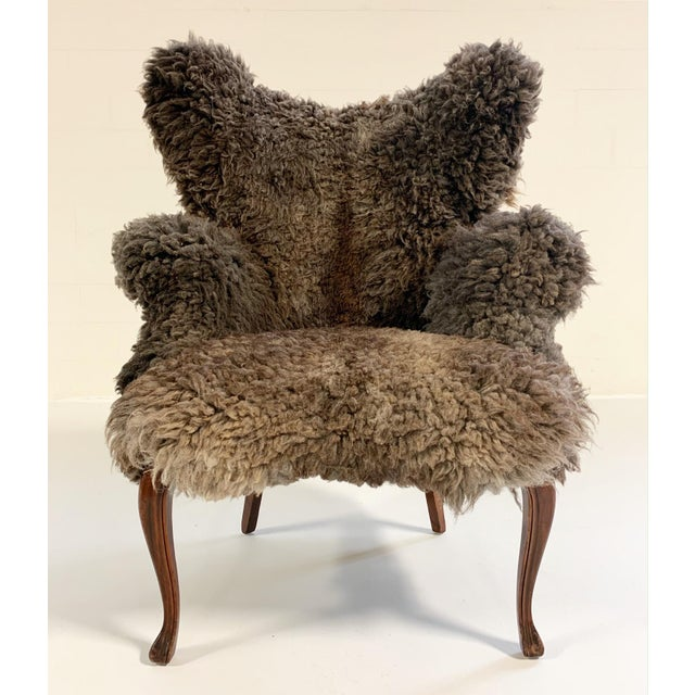 Vintage Nick Cave Wingback Armchair Restored in California Sheepskin For Sale In Saint Louis - Image 6 of 11