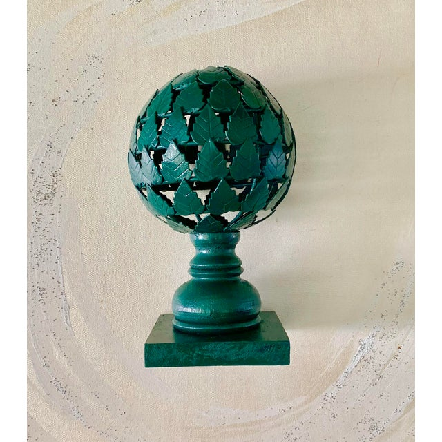 Forest Green Metal and Wood Topiary For Sale - Image 4 of 4