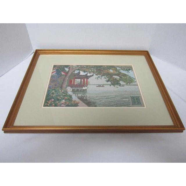 Oriental Asian Teahouse on the Lake Needlepoint - Image 8 of 11