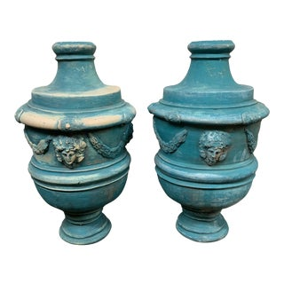 Mid-20th Century Terracota Urn Painted Turquoise - a Pair For Sale