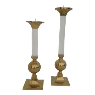 Pair of Brass and Glass Candle Holders For Sale