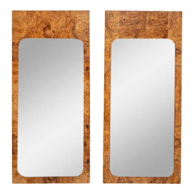 1960s Roland Carter for Lane Furniture Burlwood Mirrors - a Pair For Sale