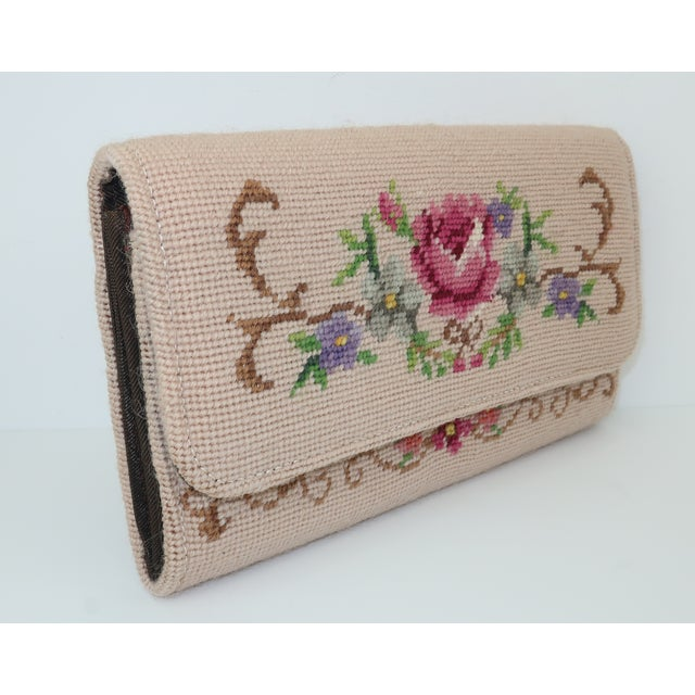 Vintage Floral Needlepoint Envelope Clutch Handbag For Sale - Image 4 of 11
