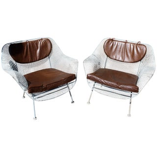 Mid-Century Modern Woodard Sculptura Pair of Large Patio Armchairs, 1950s