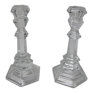 Traditional Tiffany & Co Plymouth Clear Crystal Candlesticks - a Pair For Sale