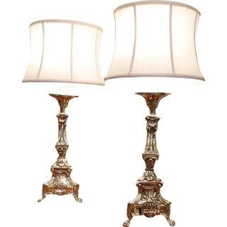 Continental Brass Repoussé Pricket Stick Lamps - a Pair