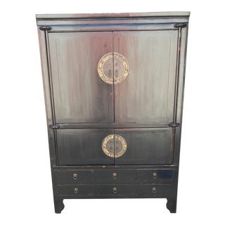 Modern Chinese Style Black Wooden Armoire For Sale