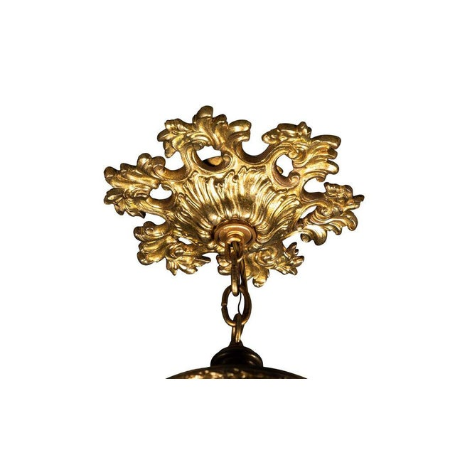 Gilt Hanging Lantern With Ceiling Escutcheon For Sale - Image 4 of 10