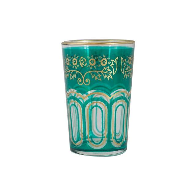 Boho Chic Bahia Green & Gold Tea Glasses - Set of 6 For Sale - Image 3 of 3