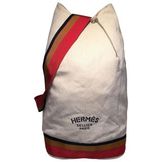 Hermes Herringbone Canvas Sling Backpack Shoulder Bag For Sale
