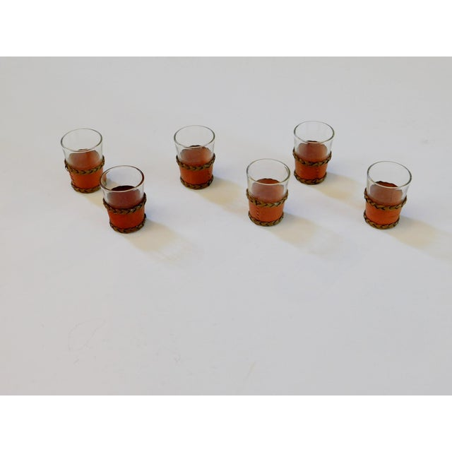 Leather Leather Trimmed Shot Glasses - Set of 6 For Sale - Image 7 of 7