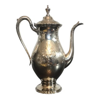 1930s Traditional Wilcox Hand Chased Silver Plated Coffee Pot For Sale