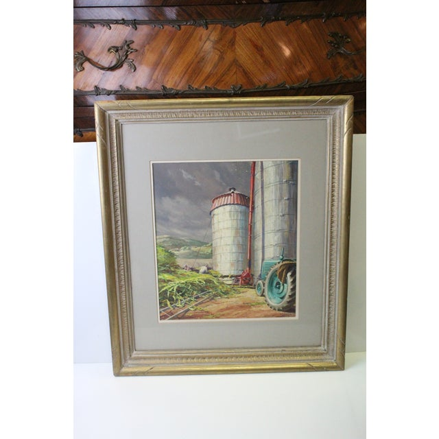 Americana Caddell Farm Silo Gouche Scene Painting For Sale - Image 3 of 8