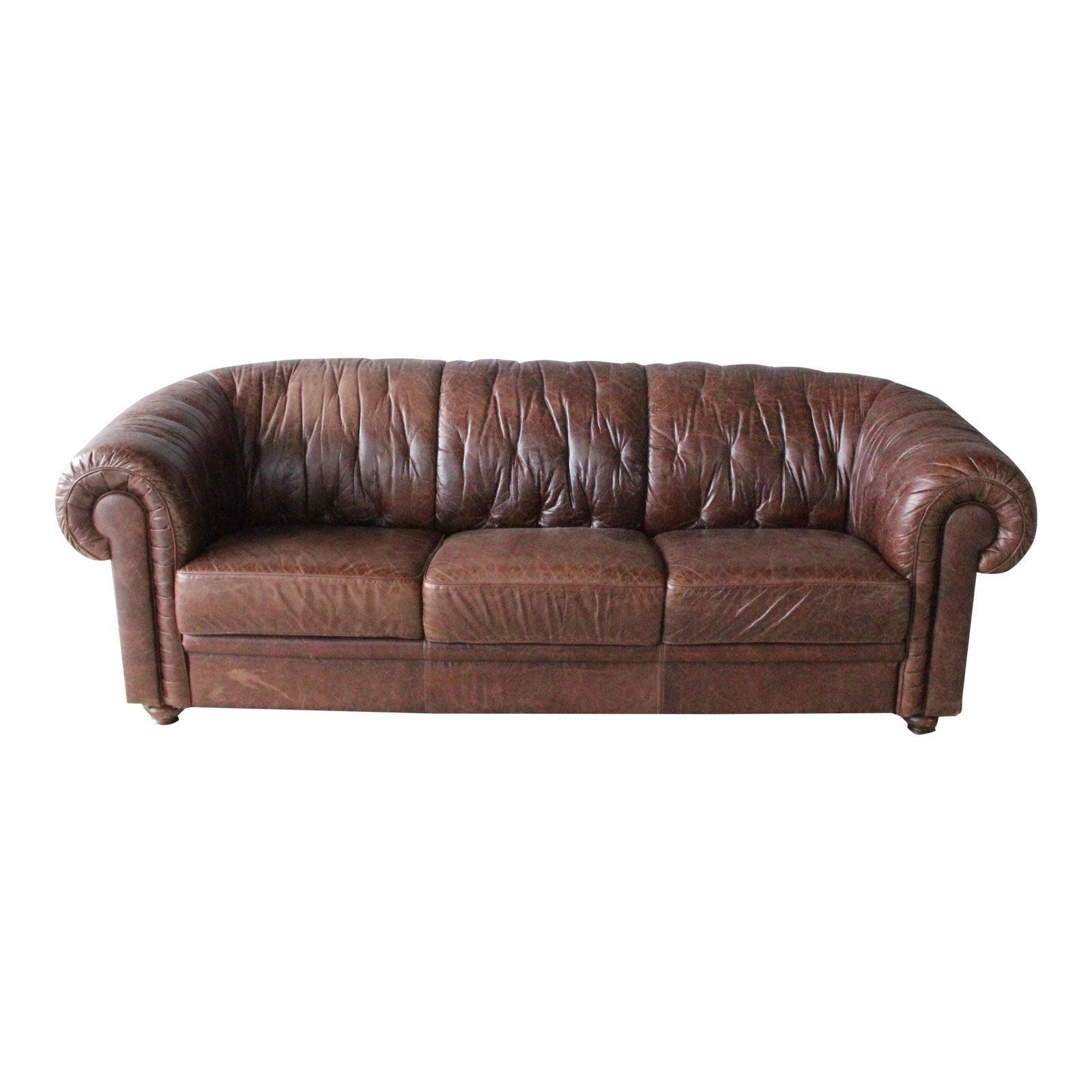 1960s Vintage Italian Leather Sofa | Chairish