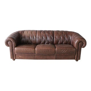 1960s Vintage Italian Leather Sofa For Sale