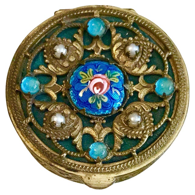 1920s French Jeweled and Enameled Powder Compact For Sale