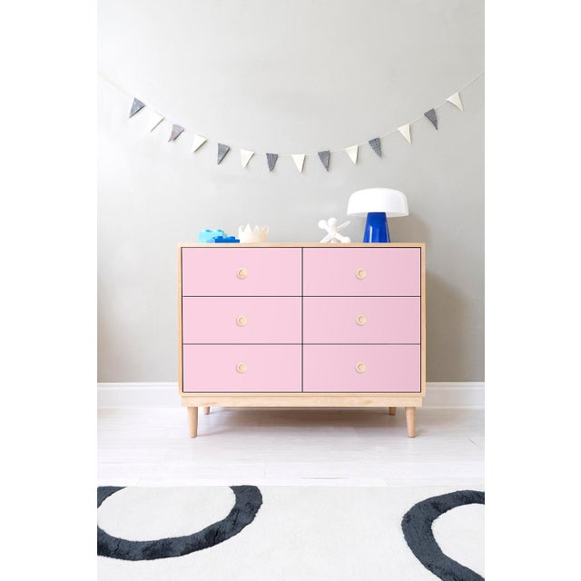 Not Yet Made - Made To Order Nico & Yeye Luke Modern Kids 6-Drawer Dresser Solid Maple and Maple Veneers Pink For Sale - Image 5 of 6