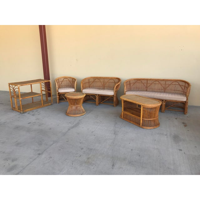 Mid Century Italian Rattan and Bamboo Chairs and Settee- 6 Pieces For Sale - Image 11 of 11