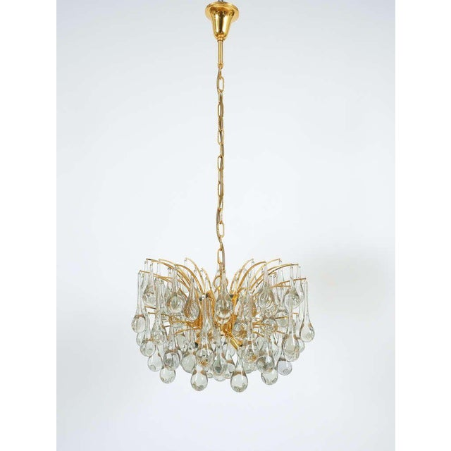 1970s Delicate Murano Glass and gilded Brass Tear Drop Chandelier, 1970 For Sale - Image 5 of 8