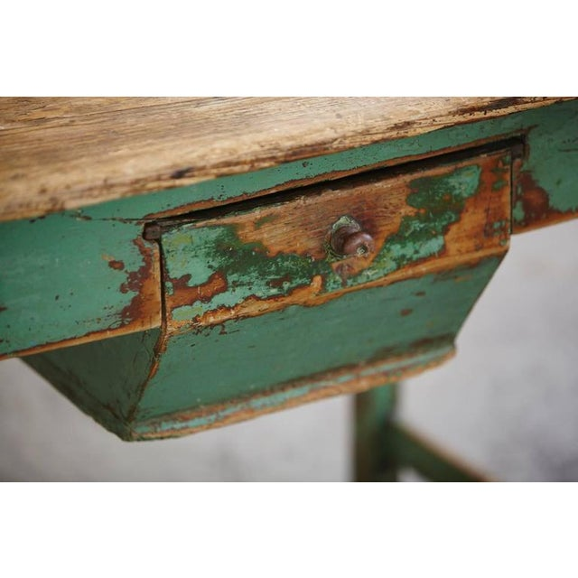 Green 19th Century Primitive Painted Dough Farm Table with Large Drawer For Sale - Image 8 of 9