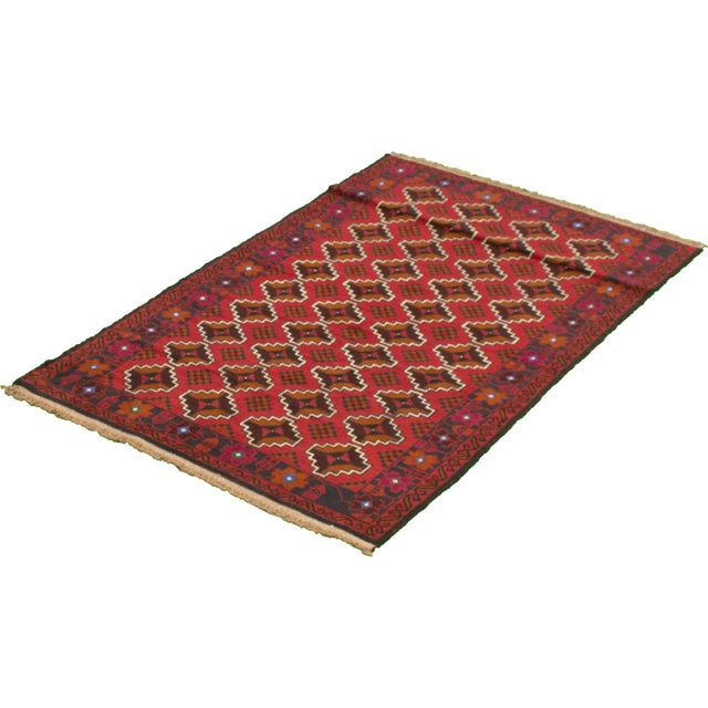 Tribal Afghan Hand-Knotted Rug For Sale - Image 4 of 9