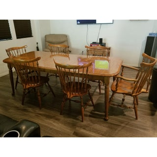 20th Century English Traditional Ethan Allen Solid Maple Large Dining Set - 7 Pieces Preview