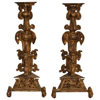 Early 19th Century Gold Giltwood and Gesso Pedestals- A Pair For Sale