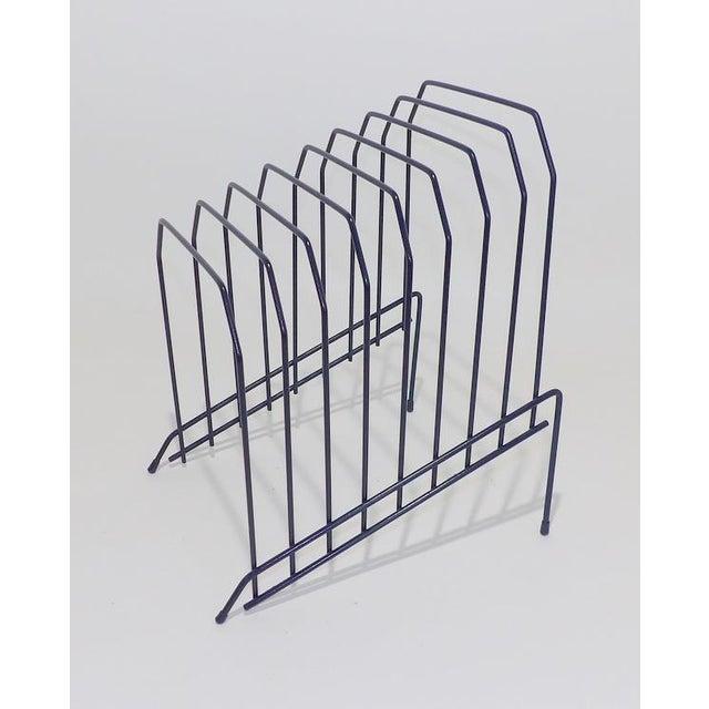 Modern Slanted Navy Blue Metal Wire Desktop File For Sale - Image 3 of 7