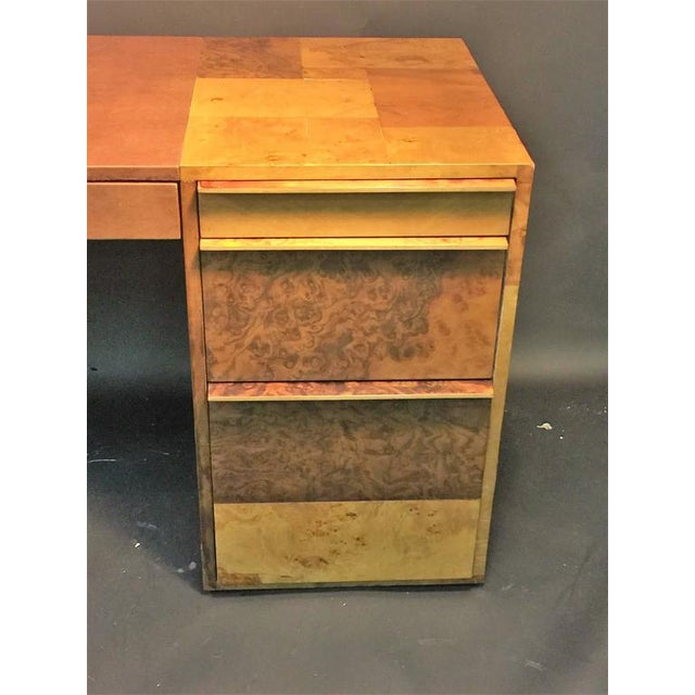 Modern PAUL EVANS PATCHWORK BURLED WOOD AND LEATHER DESK For Sale - Image 3 of 10