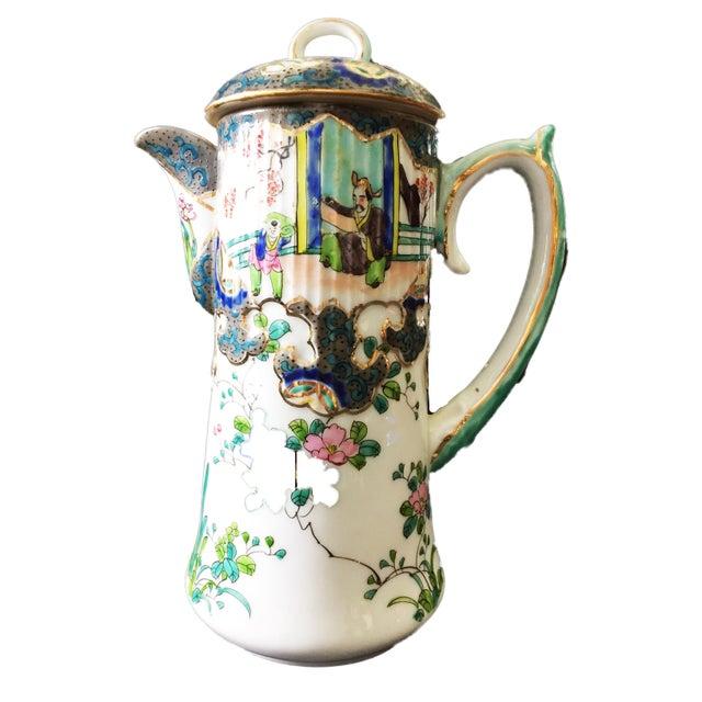 "Old H Painted Asian Porcelain Tea Pot 8.75"" H For Sale - Image 9 of 9"
