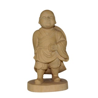 Artist Crafter Solid Quality Light Wood Travel Monk Statue For Sale