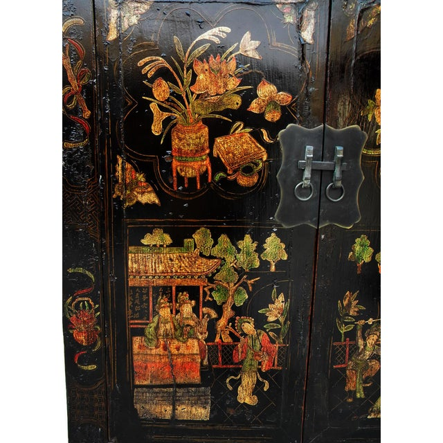 Elm 19th Century Chinoiserie-Style Black Elm Cabinet For Sale - Image 7 of 11