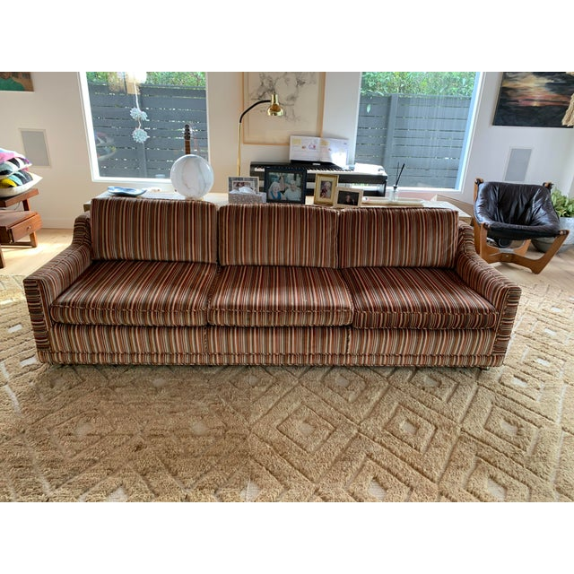 1970s Velvet Striped Couch- Original Upholstery For Sale In Los Angeles - Image 6 of 7