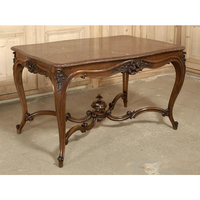 19th Century French Louis XV Rouge Marble Top Walnut Library Table For Sale - Image 10 of 10