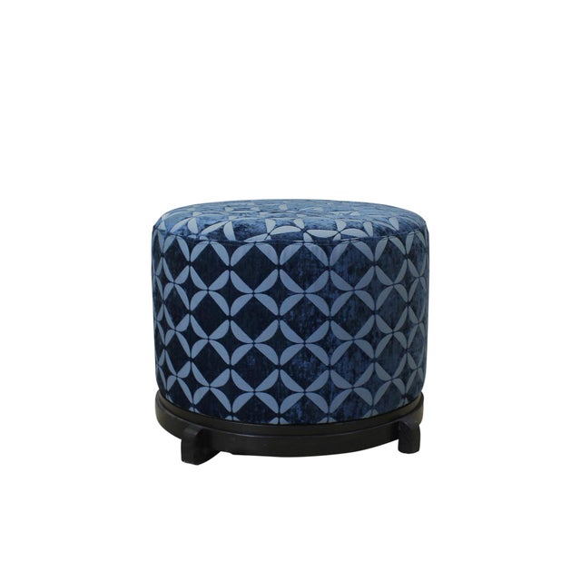 Vintage Blue Upholstered Round Ottomans - A Pair - Image 2 of 5