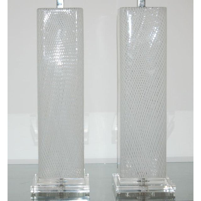 Dino Martens Vintage Murano Glass Table Lamps Square White For Sale In Little Rock - Image 6 of 10