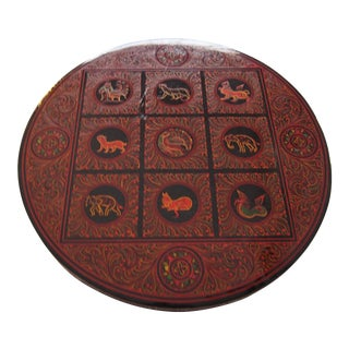 Burmese Zodiac Lacquerware Box For Sale