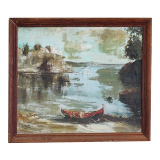 Vintage Acrylic Landscape With Boat For Sale