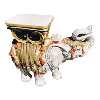 Italian White Terracotta Elephant Plant Stand For Sale