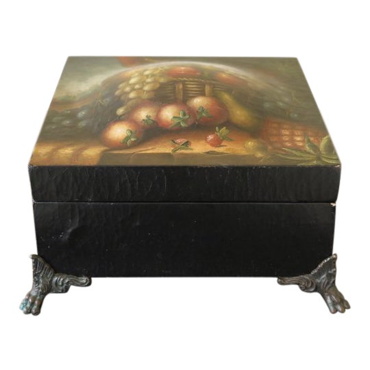 Maitland Smith Paint Decorated Leather Wrapped Dresser Top Box For Sale