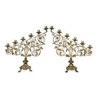 Pair 19th Century Bronze Candelabra For Sale