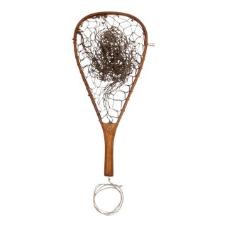 Vintage Wood Fly Fishing Hand Net For Sale