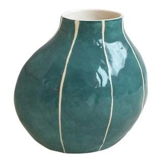 Handmade Teal and Thin White Stripes Ceramic Vase For Sale
