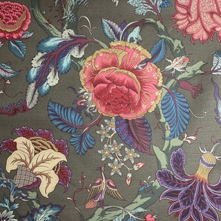 1980s Clarence House Floral Linen Fabric For Sale