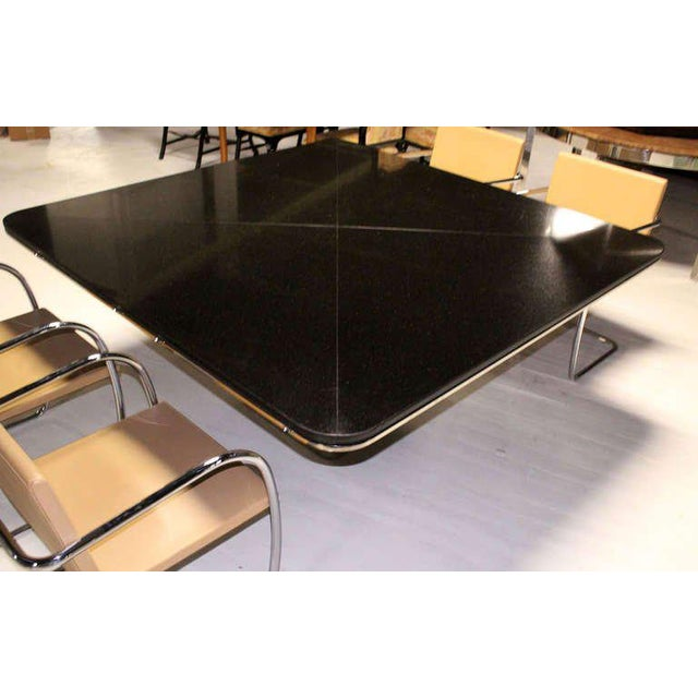 Silver 1970s Mid-Century Modern Brueton Square Granite Top and Stainless Base Dining Table For Sale - Image 8 of 10