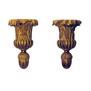 1850s Italian Giltwood Brackets - a Pair For Sale