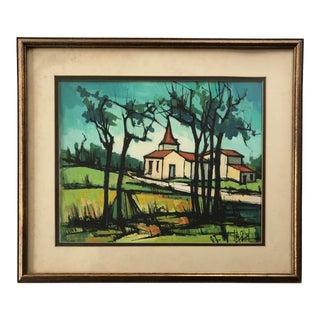 Vintage Watercolor Painting Pastoral Church Landscape For Sale